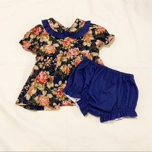 Floral Baby Girl Dress with Bloomers. 6M.